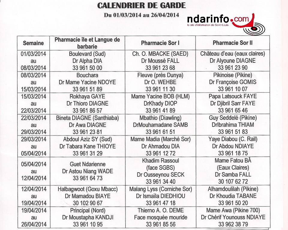 Calendrier des pharmacies de garde de Saint-Louis, du 1 au 26 avril 2014