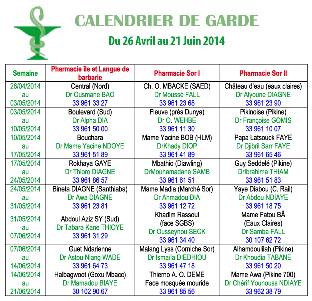 Calendrier des Pharmacies de Garde de Saint-Louis, jusqu'au 21 Juin 2014