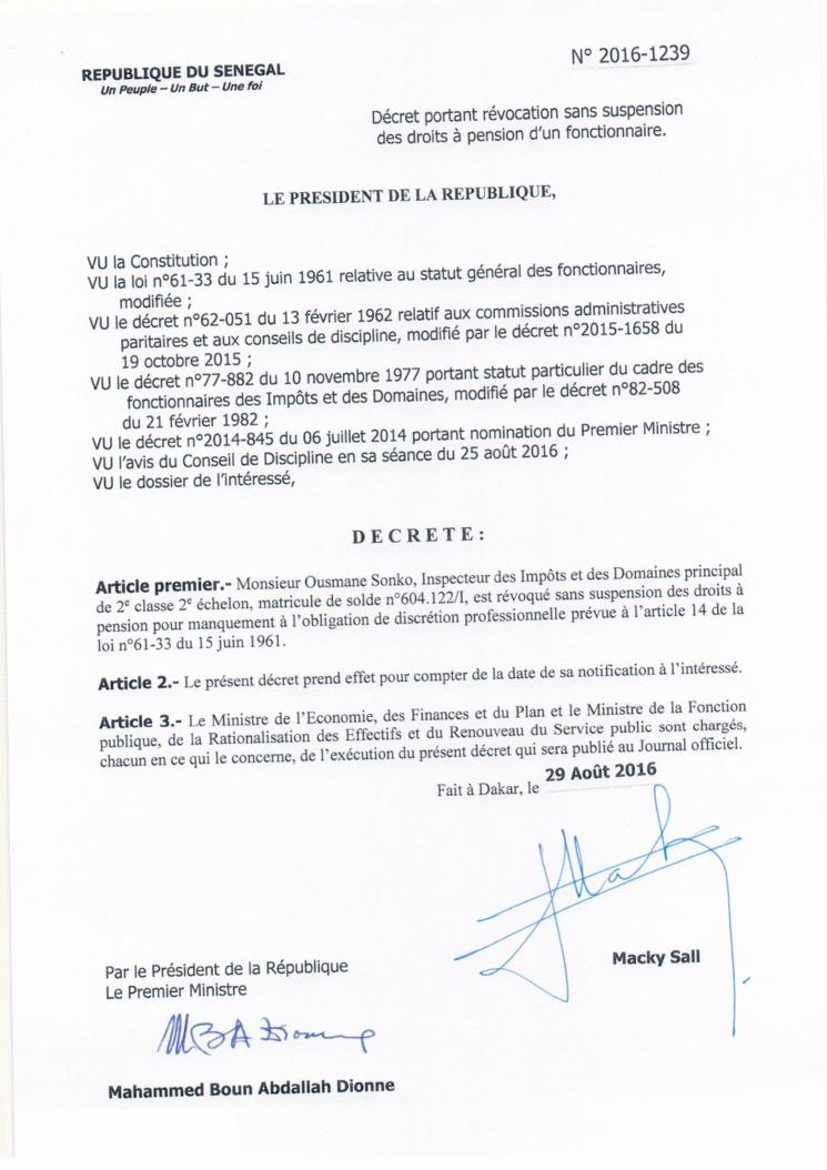 Dernière minute: Contre Ousmane SONKO, Macky SALL ordonne une lourde sanction (documents)