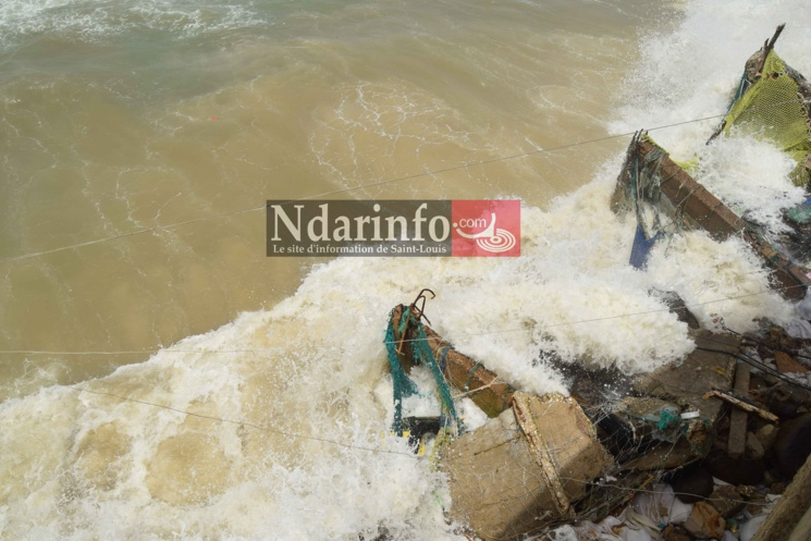 (Photos) Situation catastrophique sur la Langue de Barbarie : des rues de Santhiba, Guet-Ndar et Goxu Mbacc, envahies par la mer