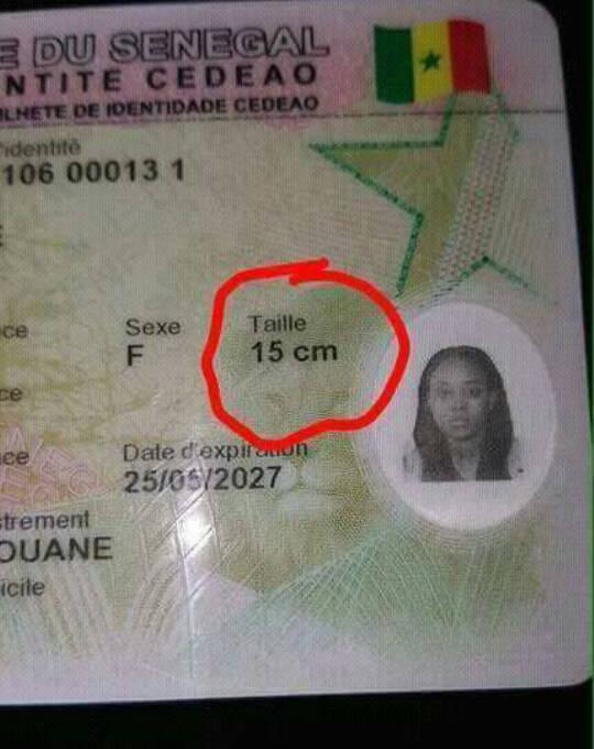 Insolites cartes biométriques : Aminata GUEYE a la photo d'un homme, l'autre mesure 15 cm