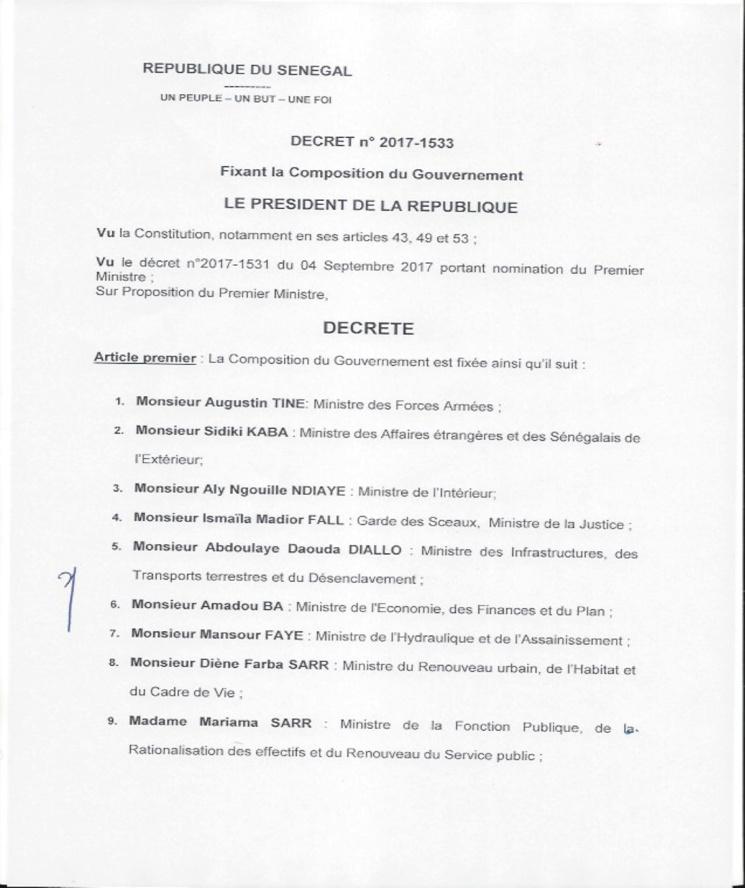 EXCLUSIF – La composition du nouveau Gouvernement