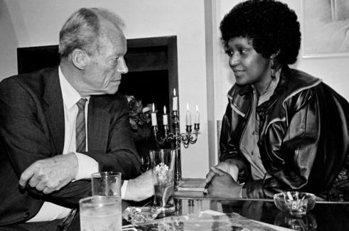 Rencontre avec le chancelier allemand de l'époque Willy Brandt, en 1986