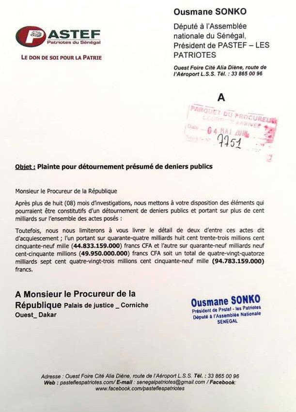 Détournements de 94 milliards de FCFA sur une affaire foncière : Sonko avait bel et bien saisi l'Ige et le procureur ( Documents)