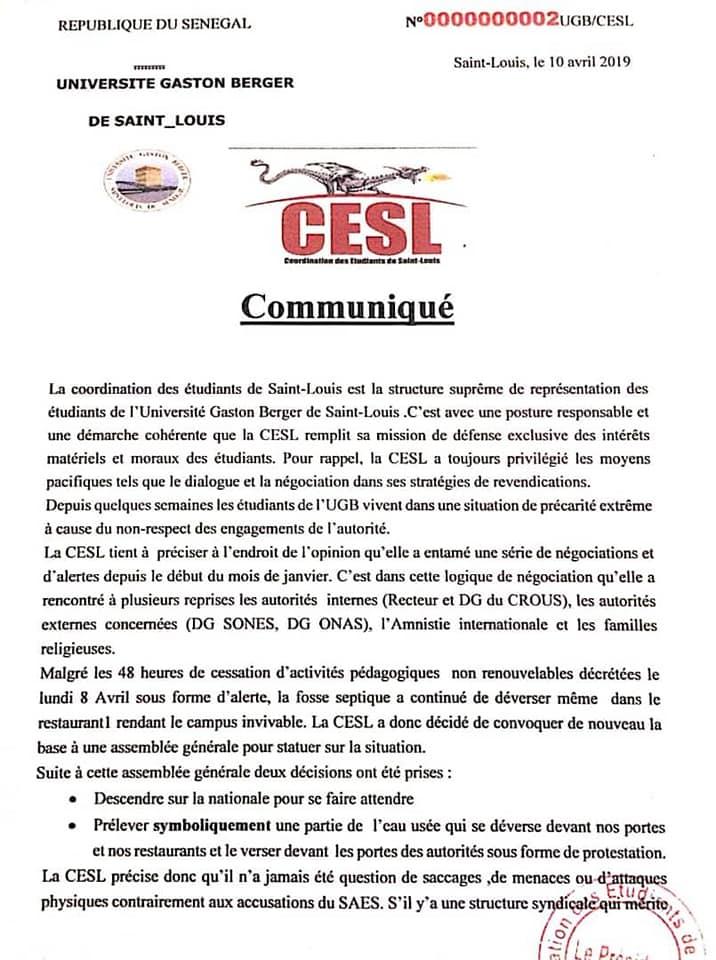 UGB : la CESL explique pourquoi elle a versé de l'eau usée dans le bureau du Recteur