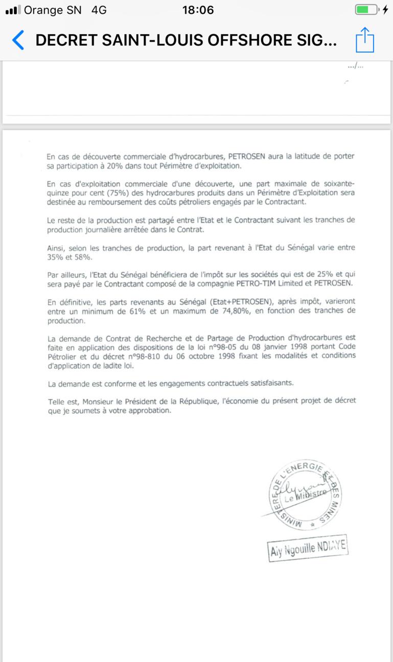 Le PDS entre dans la danse et publie les décrets d'approbation de Saint-Louis Offshore
