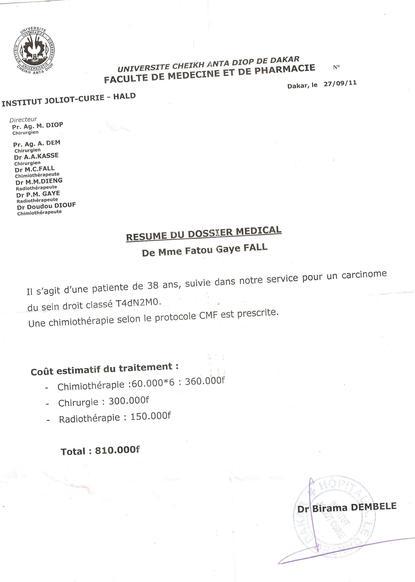 800 000 Francs CFA pour sauver une vie !