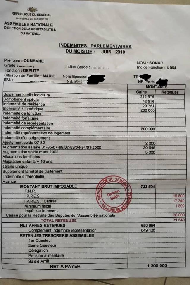 Faible paiement d'impôts des députés : SONKO persiste et dévoile son bulletin de salaire (document)