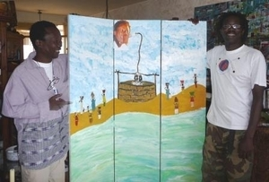 L'artiste Banda Gningue ( droite) en compagnie d'Abou Thiam
