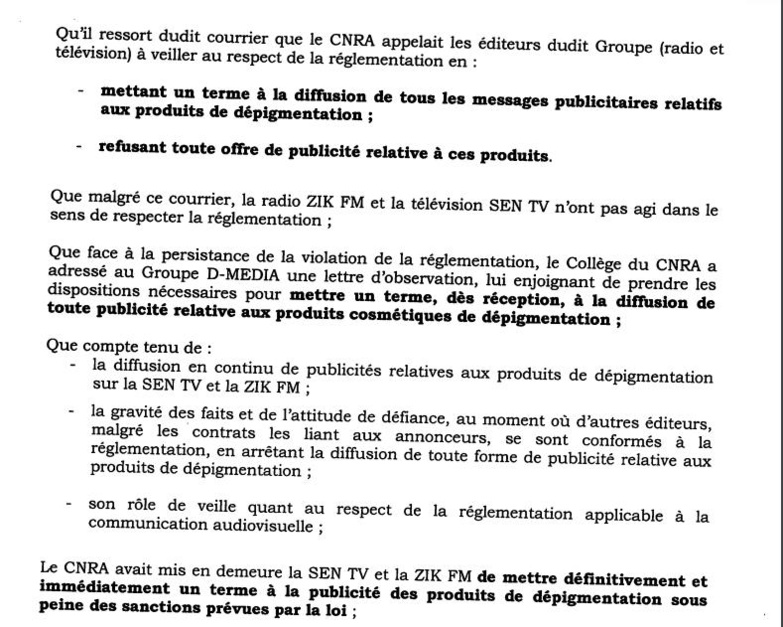 Urgent - Le CNRA suspend les programmes de la Sen TV [Document]