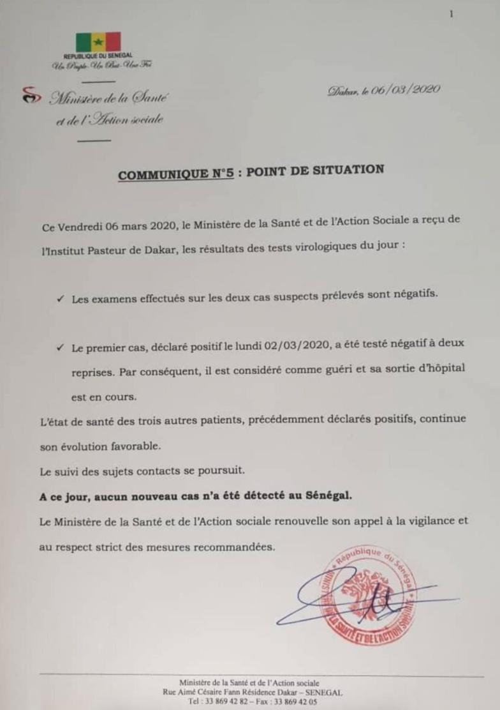 "Coronavirus au Sénégal : guérision du ""cas zéro"""