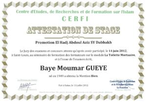 Session de formation sur la pratique de la toilette mortuaire El Hadj Baye Moumar Guèye obtient le diplôme avec la mention « Bien »