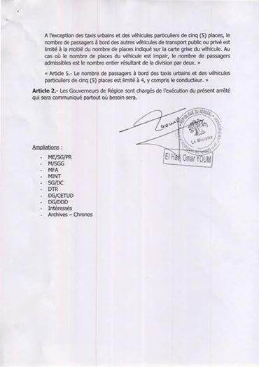 Urgent : assouplissement des restrictions dans le secteur des Transports terrestres (Document)