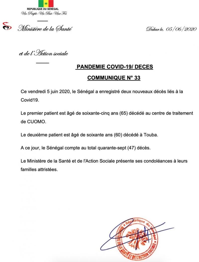 Covid-19 : Le Sénégal enregistre ses 46e et 47e décès