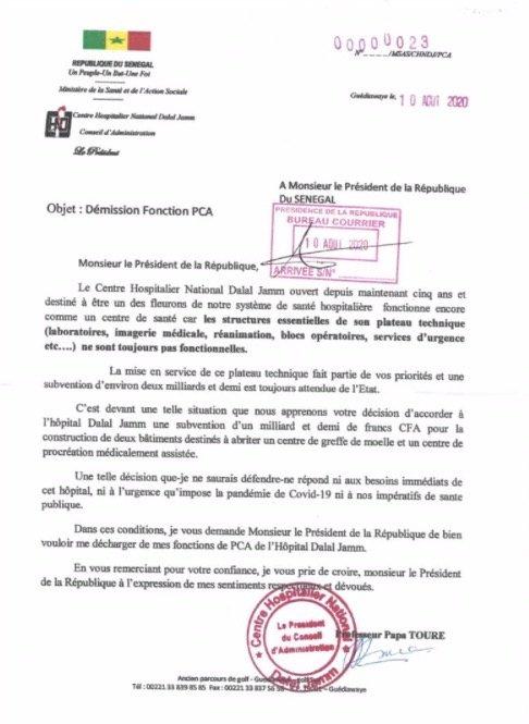 Hôpital Dalal Jamm : Le Pca tacle Macky et démissionne