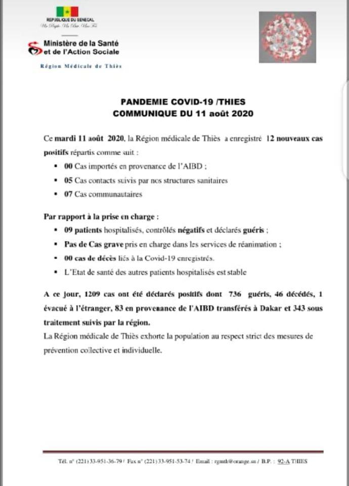 COVID-19 : Thiès a enregistré 46 décès