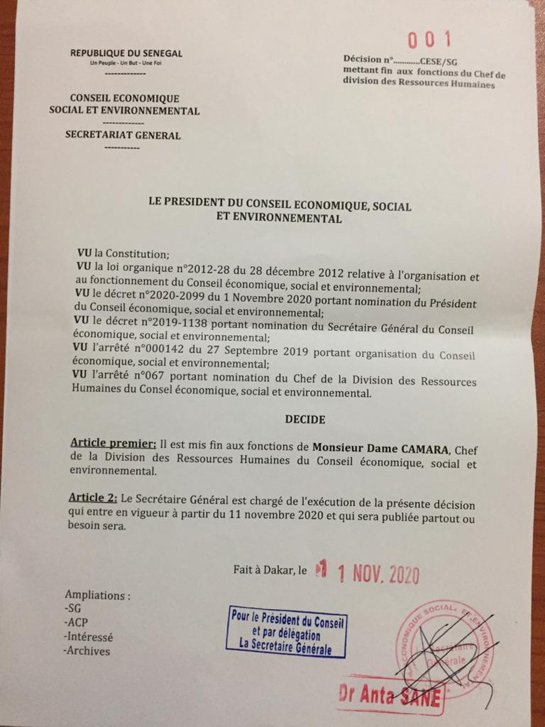 Cese: Idy limoge le DRH et du DAF (documents)