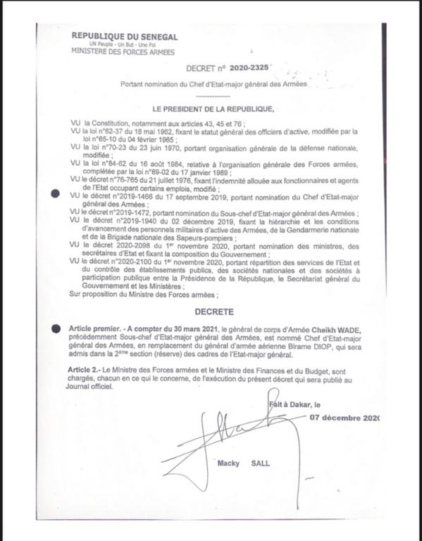 Le Général Cheikh Wade nommé Chef d'état major général des Armées (DÉCRET)