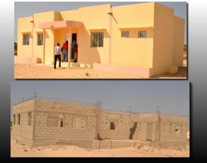 En haut, la maison communautaire réalisée par la CR et en bas, celle promise par l'Etat.