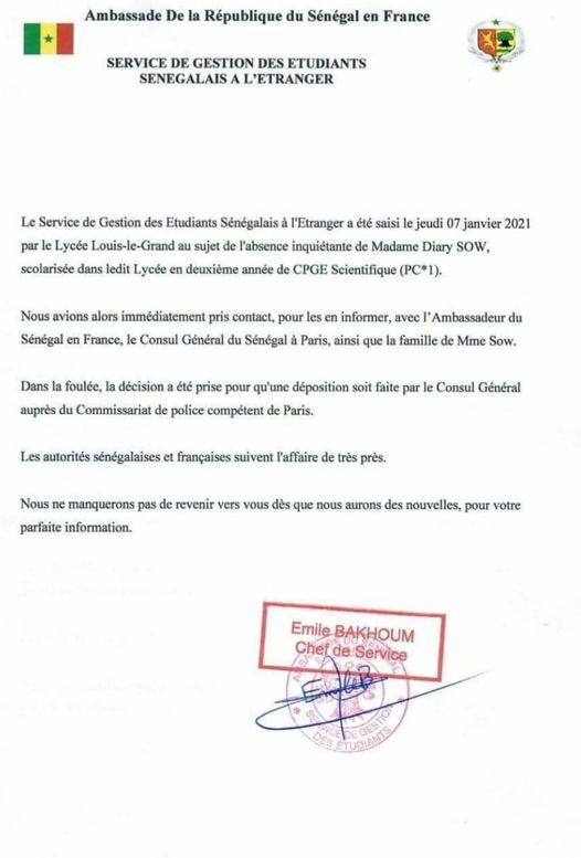 """Disparition de Diarry Sow: """"Les autorités sénégalaises et françaises suivent l'affaire de très prés"""""""