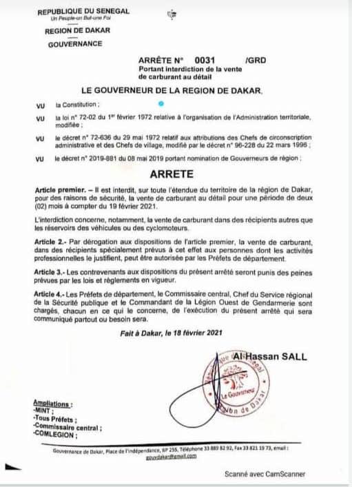 Dakar : la vente de carburant au détail interdite