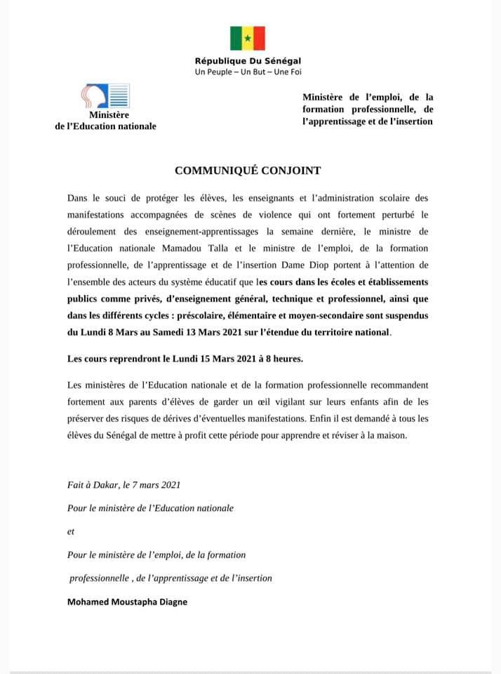 Urgent - Suspension des cours jusqu'au 15 mars 2021 (communiqué)