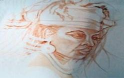 Galerie Nationale: Jacob Yacouba expose des visages de femmes en sépia.