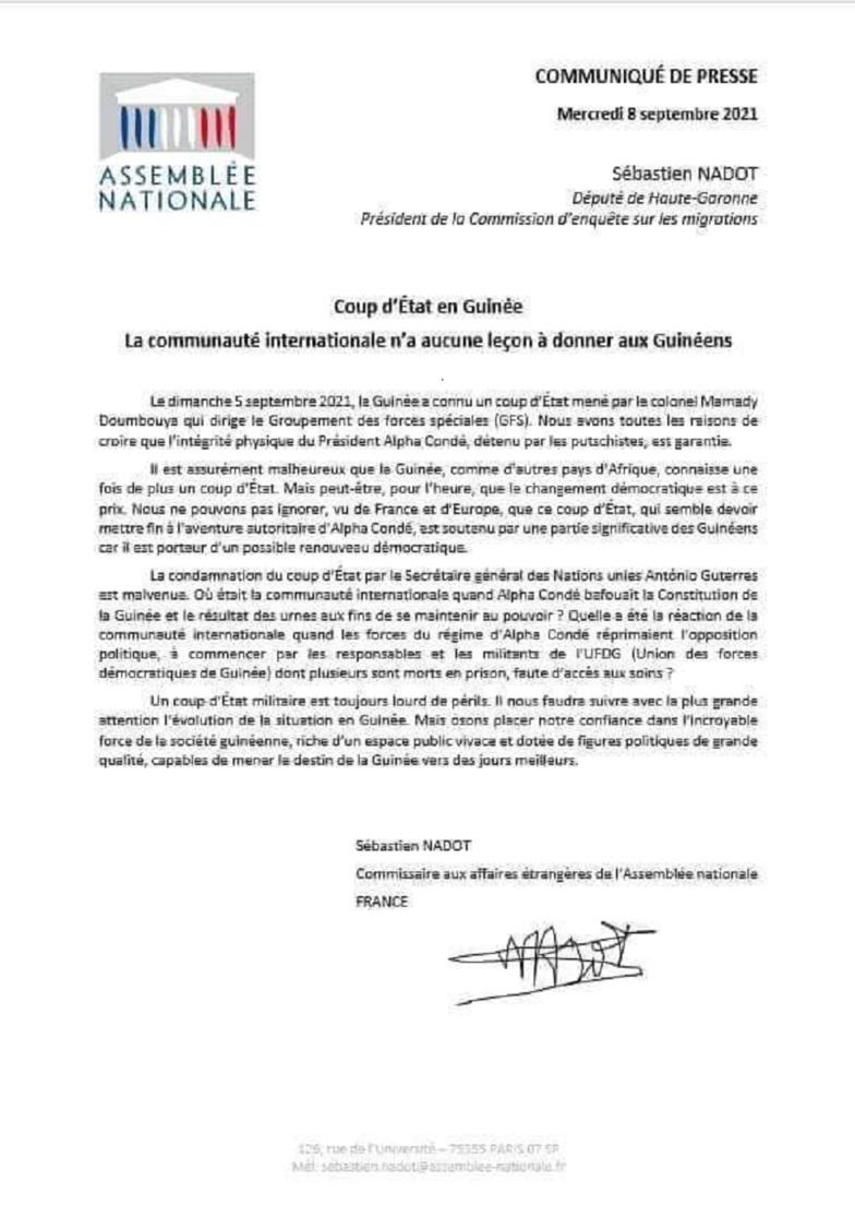 « La communauté internationale n'a aucune leçon à donner à la Guinée », député françaisf