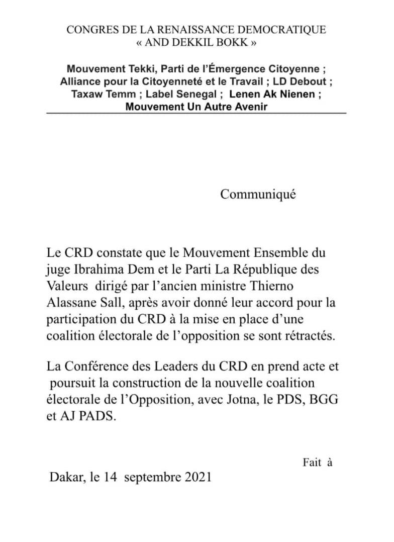 Juge Dème et TAS sortis coalition du Pds : Le CRD prend acte et continue le compagnonnage