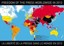 Carte de la liberté de la presse dans le monde, réalisée par Reporters Sans Frontières