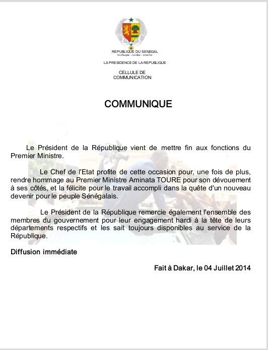 Limogeage de Mimi Touré : le communiqué de la présidence