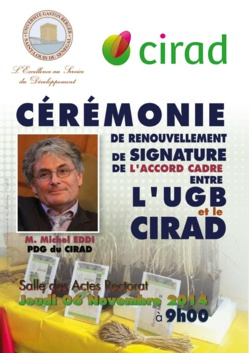 Cérémonie  de renouvellement de signature d'un accord cadre entre l'UGB et le CIRAD, ce jeudi 06 novembre.