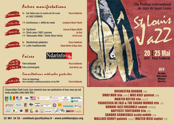 CULTURE: Voici le programme de l'édition 2015 du Festival de Jazz de Saint-Louis.