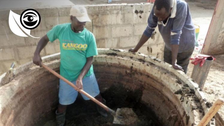 Les résidus se trouvant dans les biodigesteurs mis en place à l'abattoir de Saint-Louis doivent être vidés tous les six mois, ce qui sert à faire du compost. Toutes les photos ont été envoyées par l'ONG Le Partenariat.
