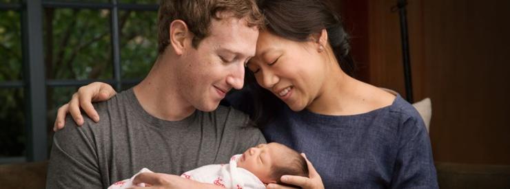 Le fondateur de Facebook devient papa et fait don de sa fortune