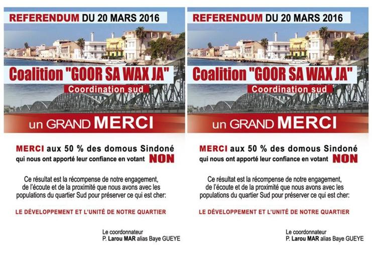 """RÉFÉRENDUM - QUARTIER SUD : le MPCL et la Coalition """"Gorr sa Wax Ja"""" résistent."""