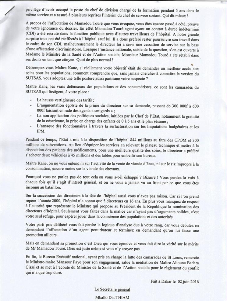 HOPITAL DE ST-LOUIS: le Sutsas répond à Me Massokhna KANE (communiqué)