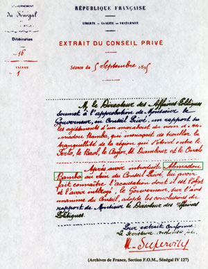 Le Conseil privé du 5 septembre 1895 : Internement de Cheikh Ahmadou Bamba au Gabon