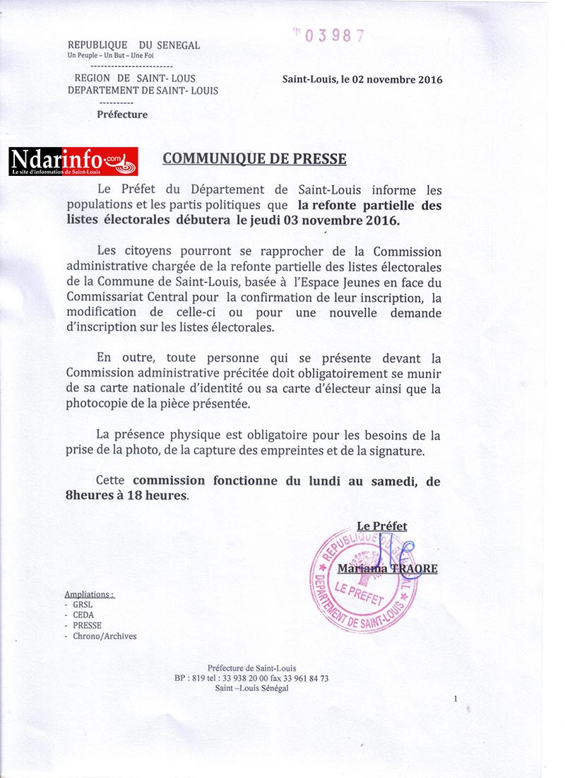 Saint-Louis - Inscription sur les listes électorales : 100 personnes enregistrées au démarrage et « quelques soucis techniques ».