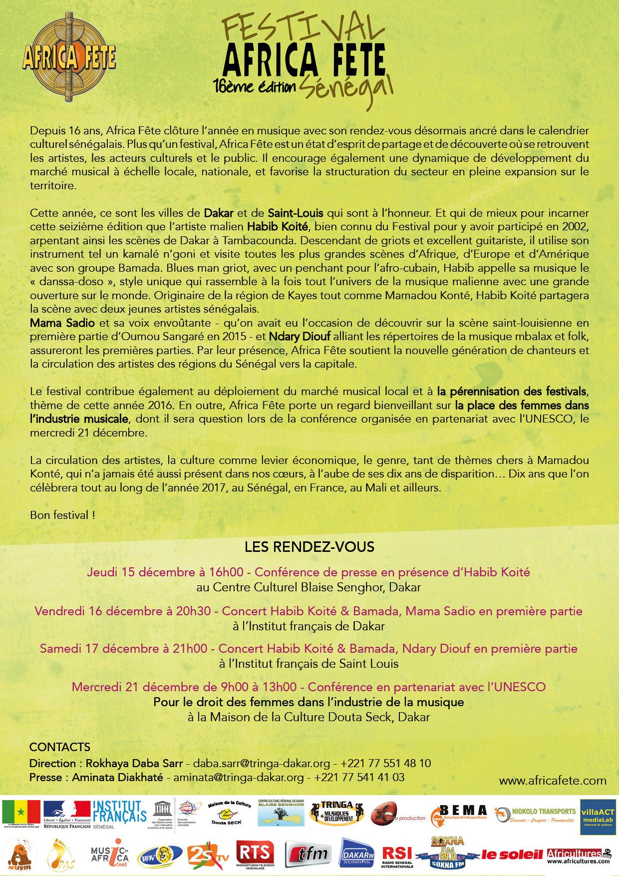 Festival Africa Fête : Habib Koité, Mama Sadio à l'affiche de la 16ème édition