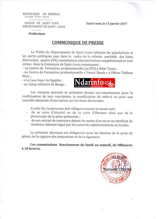 Saint-Louis : 4 nouvelles commissions administratives créées (Document)