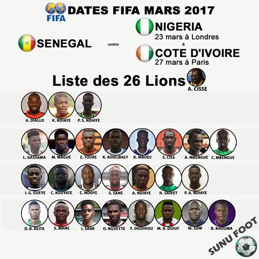 Voici la liste des 26 Lions pour affronter le Nigeria et la Côte d'Ivoire