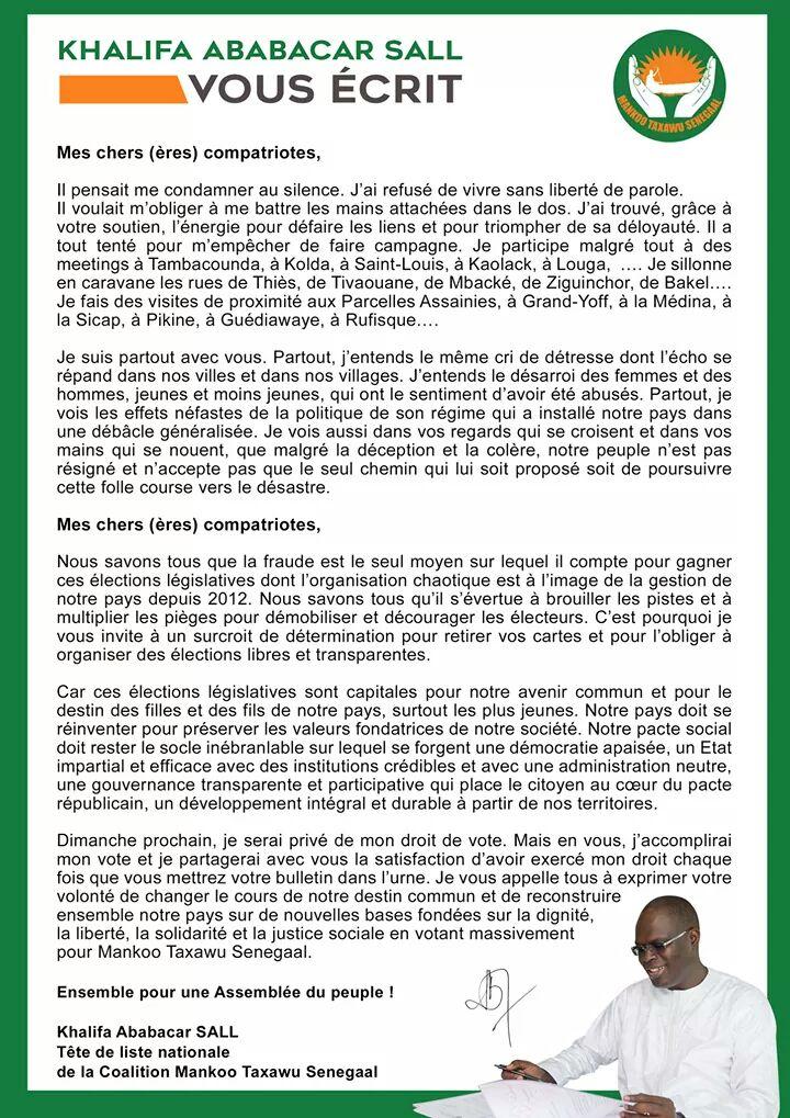 Législatives : La dernière lettre de Khalifa Sall avant le vote de dimanche prochain