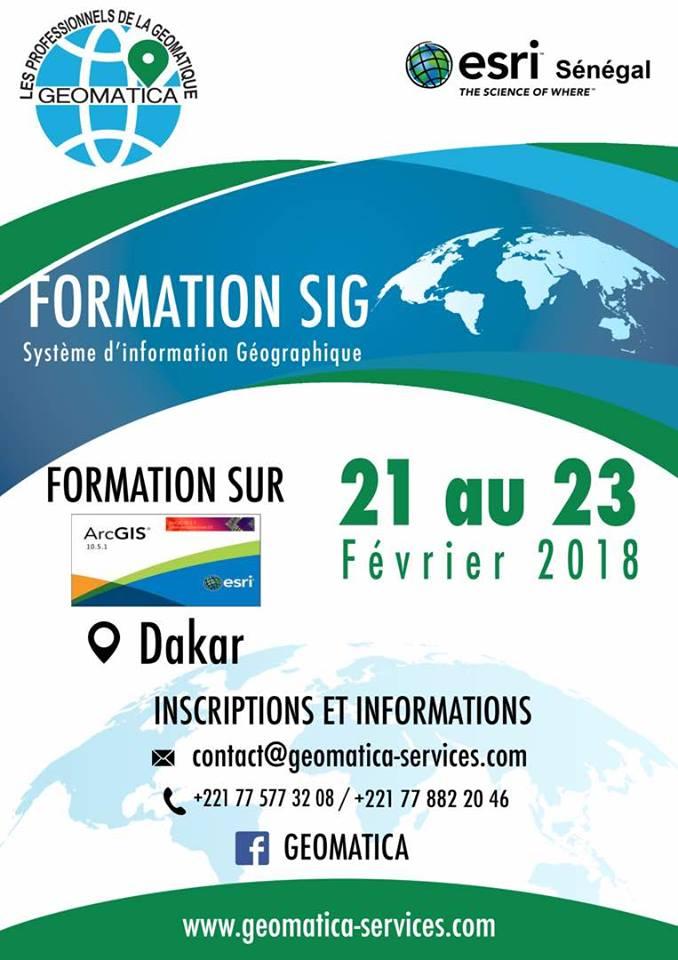 SIG : Géomatica et  Esri Sénégal organisent une formation à Dakar du 21 au 23 février 2018