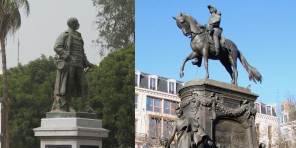 À gauche, la statue du général Louis Faidherbe à Saint-Louis, au Sénégal et à droite sa statue à Lille, en France. © Wikimedia Commons