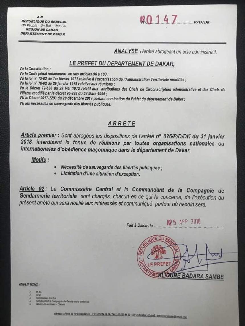 Le Préfet de Dakar autorise les réunions des associations maçonniques. JAMRA s'insurge.