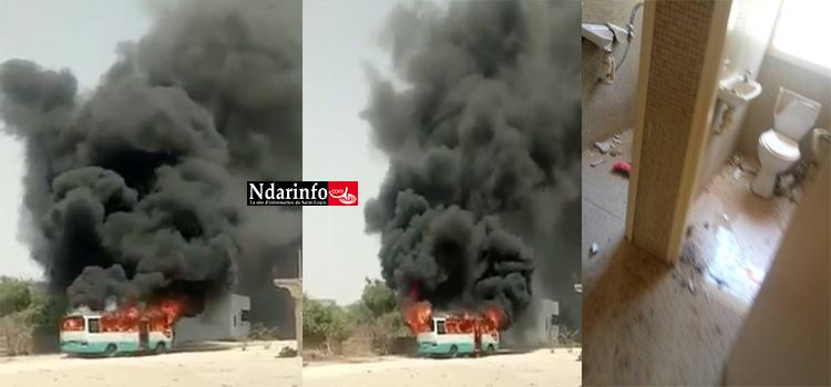 Direct - UGB : Un bus incendié et la plaque de l'OLAC incendiés, la maison de Mary Teuw NIANE saccagée