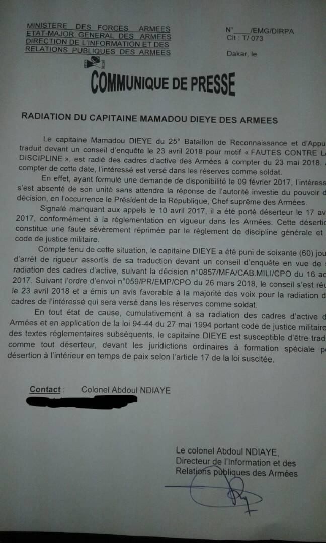 Le capitaine Dièye libéré et radié de l'Armée