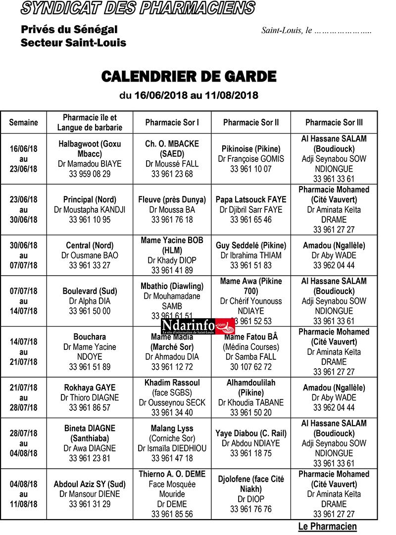 Les pharmacies de garde de Saint-Louis, du 16 juin au 15 décembre 2018