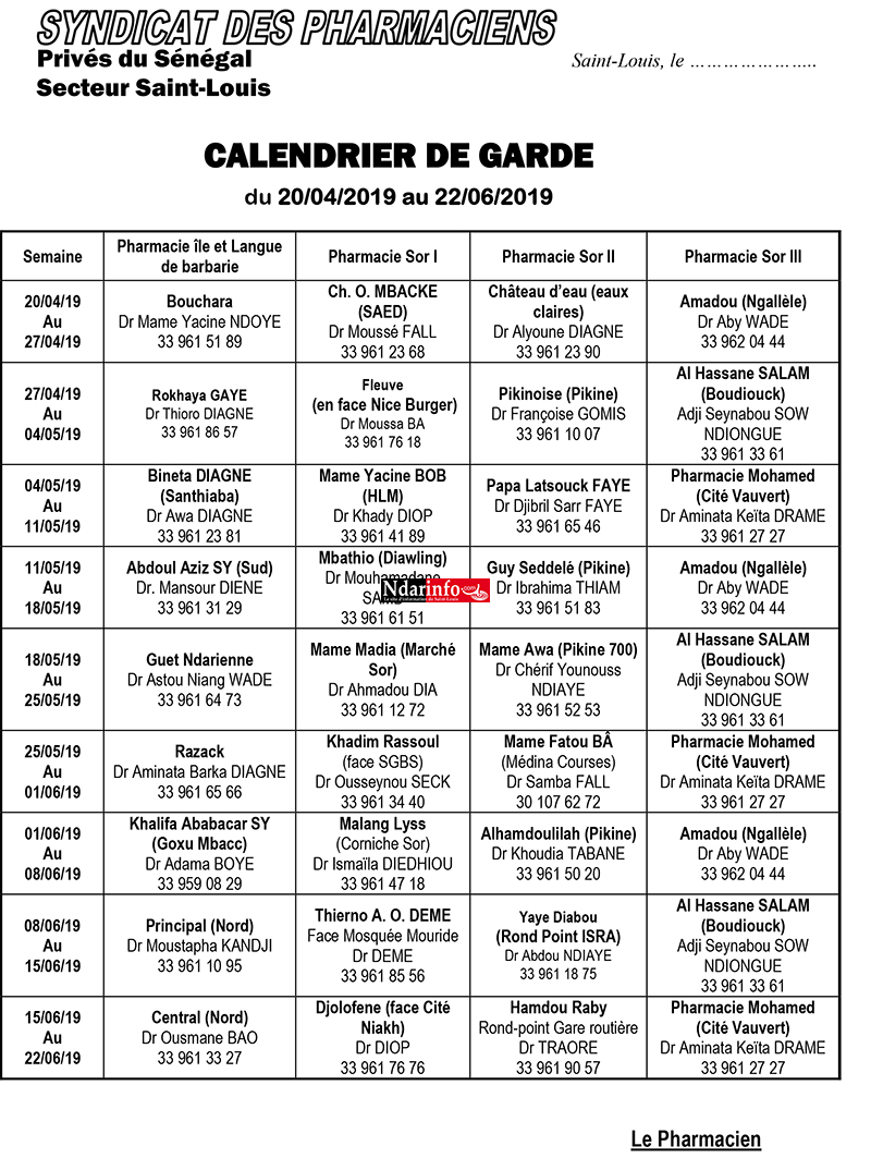 Le calendrier des pharmacies de Garde de Saint-Louis ( de Janvier à Juin 2019)